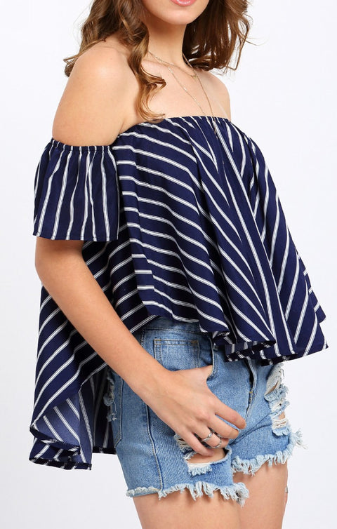 Asymmetrical Striped Off Shoulder Womens Blouse - Hautify