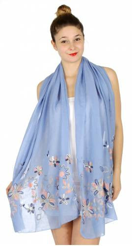 Cute Flower Embroidery Scarf - Hautify