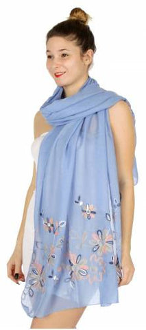 Cute Flower Embroidery Scarf