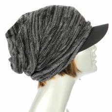 Slouchy Beanie With Brim Black