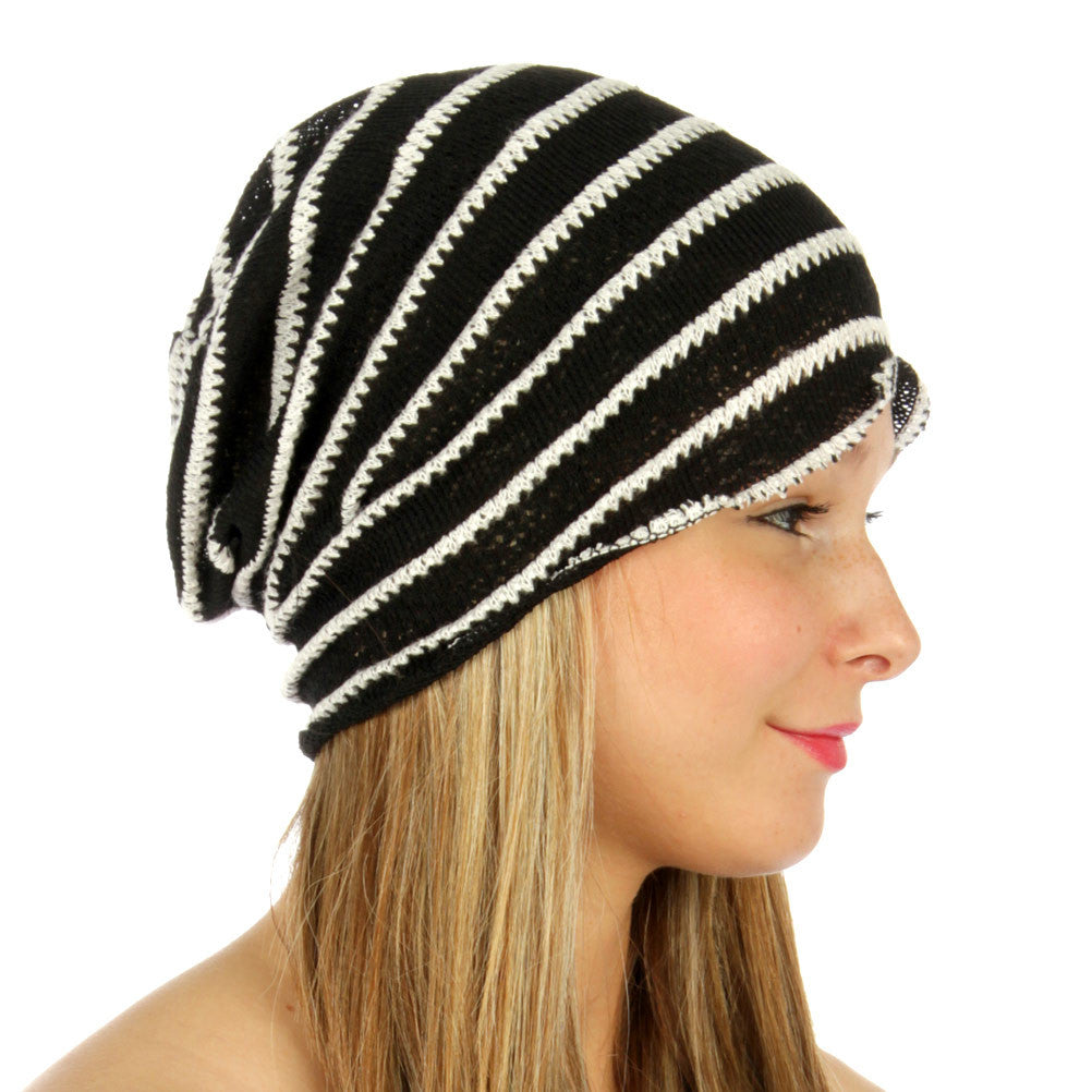 Stripe Knit Beanie Black