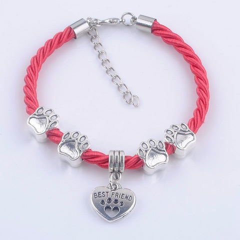 Woven Rope Dog Paw Best Friend Charm Bracelet - Hautify