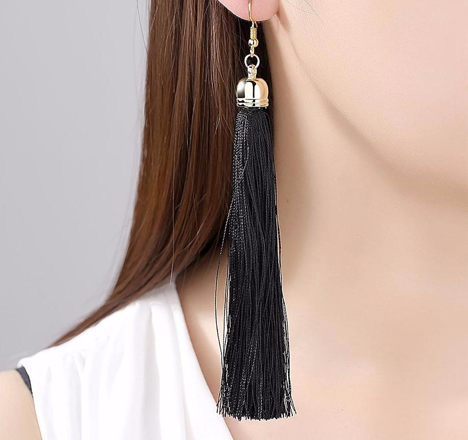 Long Tassel Fiber Drop Earrings