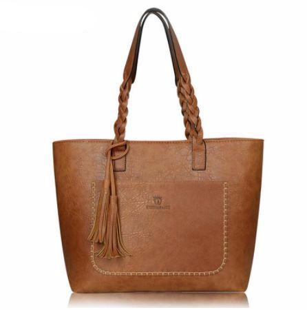 Faux Leather Tassel Trapeze Tote Bag - Hautify