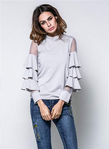 Flare Sleeve Womens Long Sleeve Solid Blouse