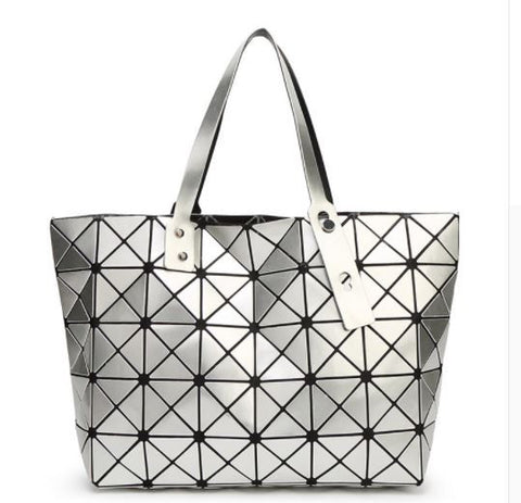 Diamond Print Top Handle Trapeze Bag
