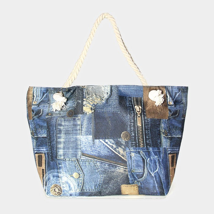 Denim Patch Beach Bag
