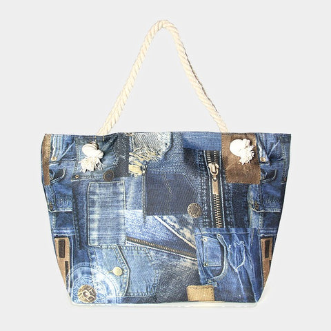 Denim Patch Beach Bag - Hautify