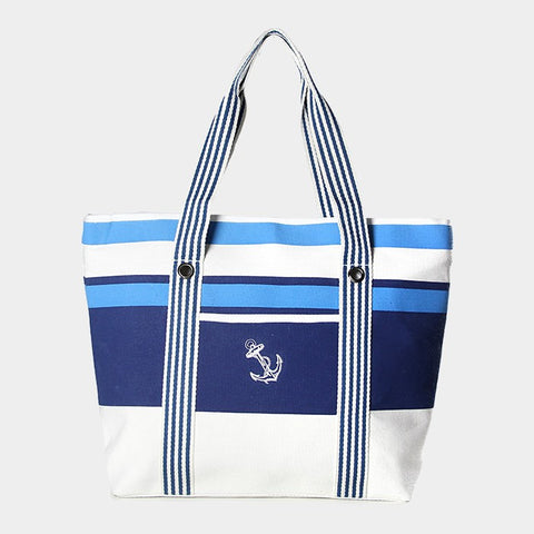 Striped Anchor Beach Bag - Hautify