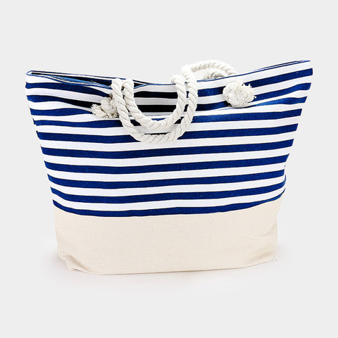 Printed Stripe Pattern Canvas Beach Tote Bag - Hautify