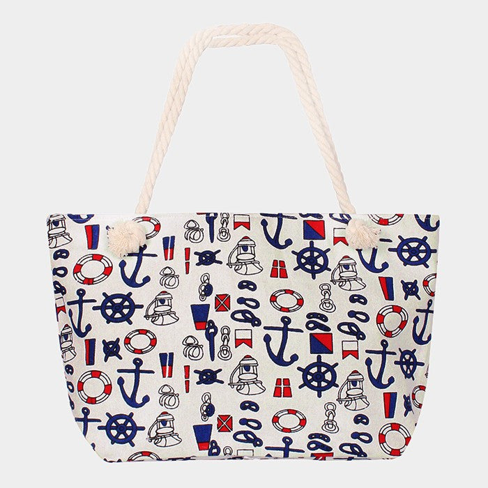 Nautical Print Beach Bag