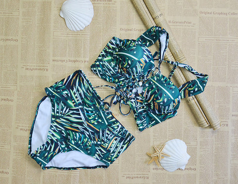 Tropical Print Under Wire High Waisted Swimsuit