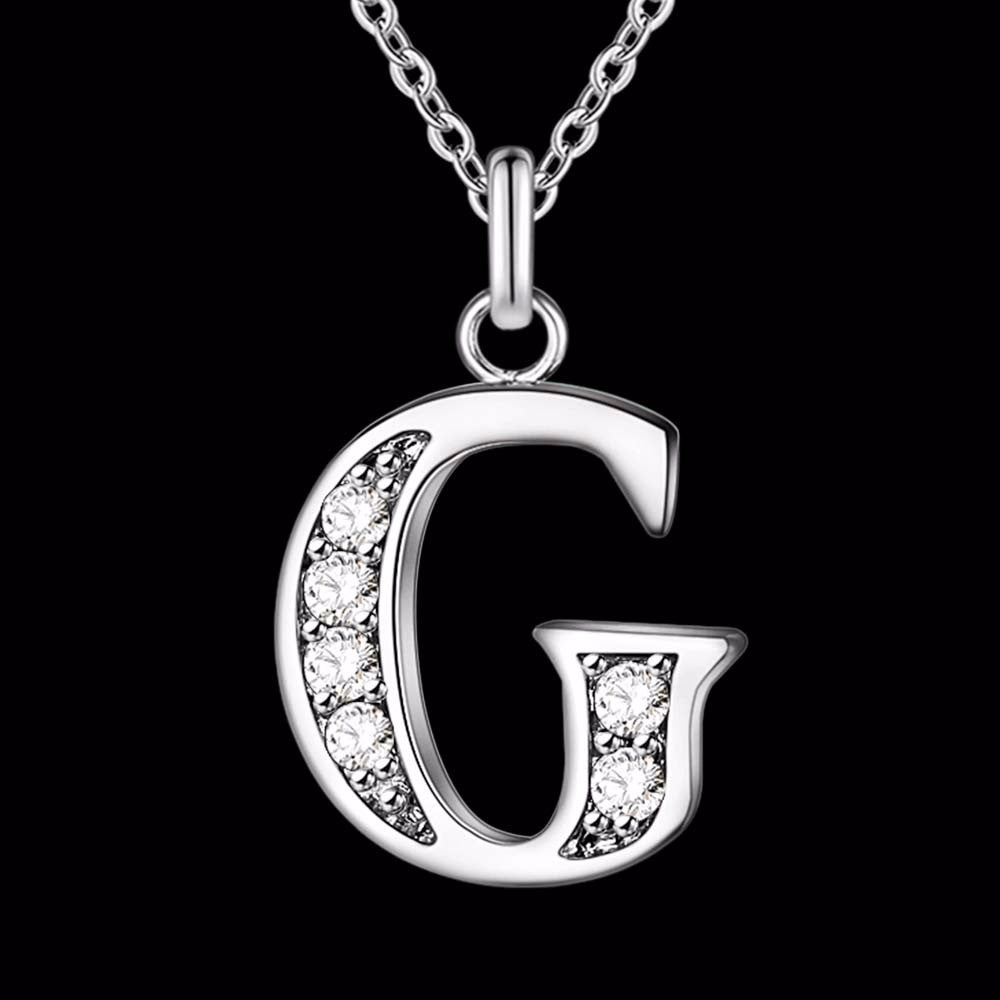 Blingy Letter A-S Silver Plated Necklace - Hautify