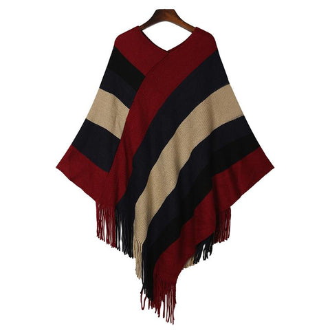 Striped V-Neck Irregular Hem One Size Poncho - Hautify