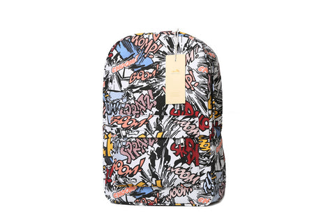 Graffiti Print Canvas Backpack for School