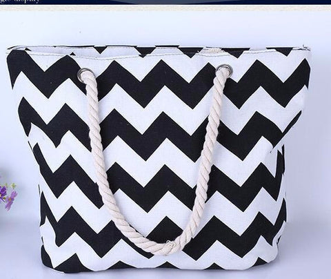 Chevron Print Trapeze Zippered Canvas Beach Tote