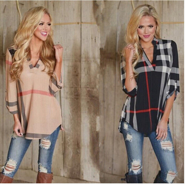 V Neck Plaid  Fashion T Shirt for Women Size S-3XL