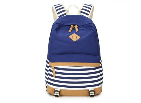 Two Tone Striped Canvas Backpack - Hautify