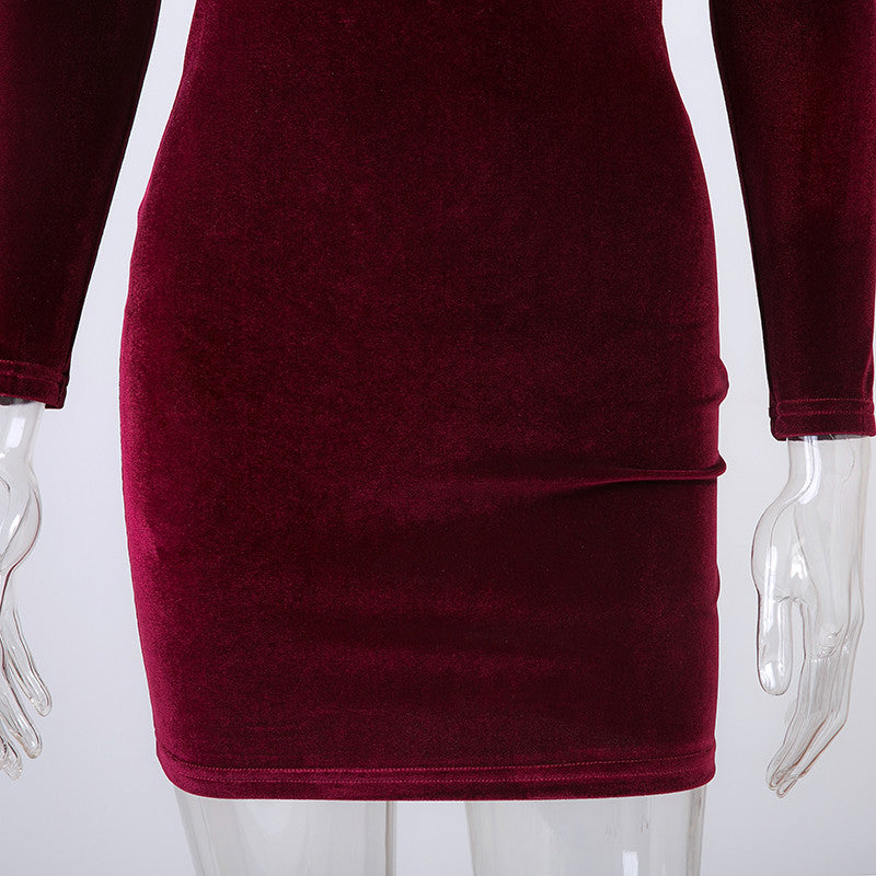 Sexy Off Shoulder Wine Red Sheath Velvet Dress - Hautify