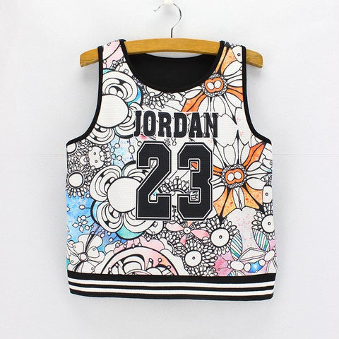 "Jordan ""23"" Abstract Print Tank Crop Top for Women One Size - Hautify"