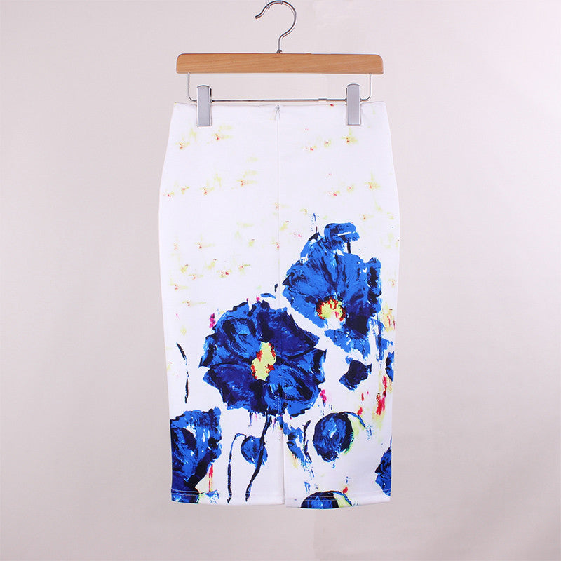 Paint Splash Rose Print Pencil Skirt Midi