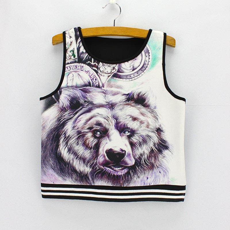Fierce Wolf Tank Crop Top for Women One Size