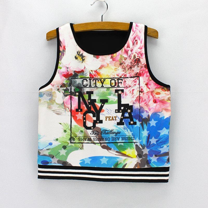 Two States Print  Tank Crop Top for Women One Size - Hautify