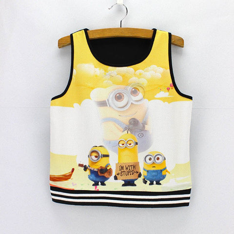 Three Minions Print Tank Crop Top for Women One Size