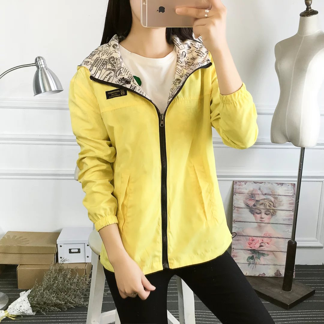 Womens Basic Hooded Bomber Reversible Jacket