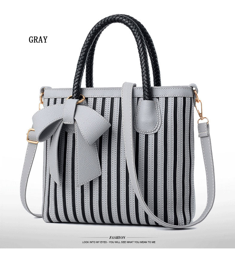 Bow Tie Striped Tote Bag - Hautify