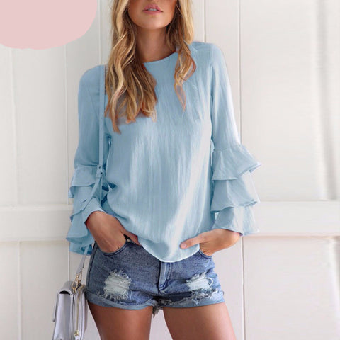 Women Blouses Crew Neck Ruffled Flounce Solid Top