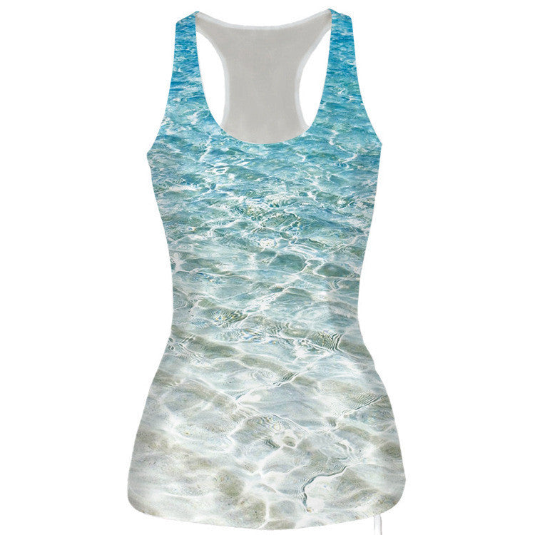 Sea Life Print 3D Tank Top for Women One Size
