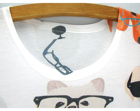 Dogs in Glasses Print One Size TShirt for Women