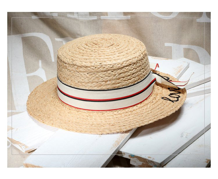 Raffia Bow Knot Worded Straw Hat Beige