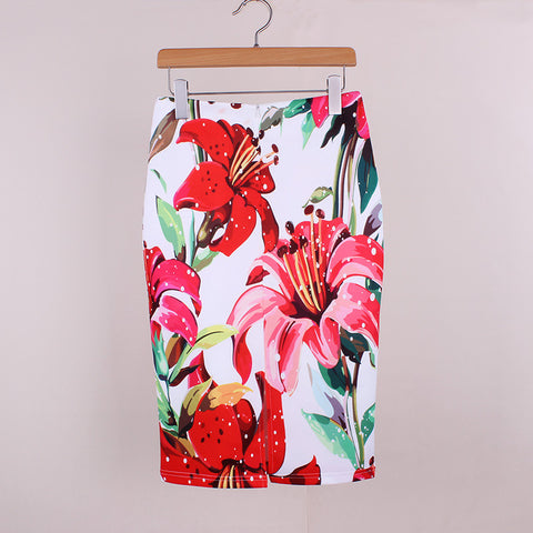 Floral Print Womens Pencil Skirt Knee Length