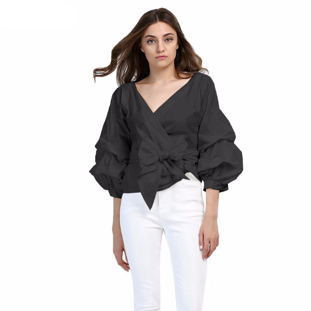 Bishop Sleeves Ruffled V  Neck Solid Blouse