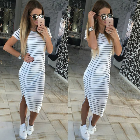 Short Sleeve BodyCon Striped Dress - Hautify
