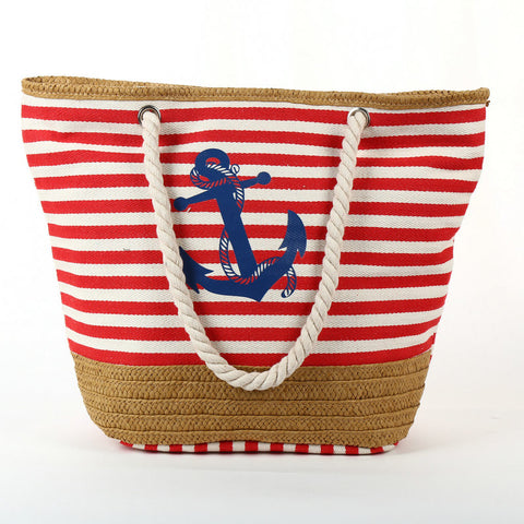 Anchor Print Striped Beach Tote Bag - Hautify