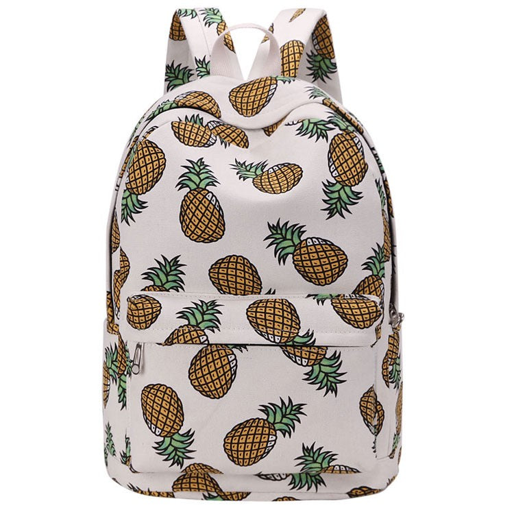 Pineapple Print Teenager Backpack