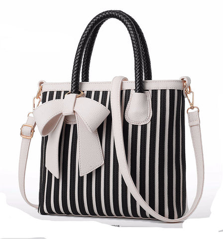 Bow Tie Striped Tote Bag