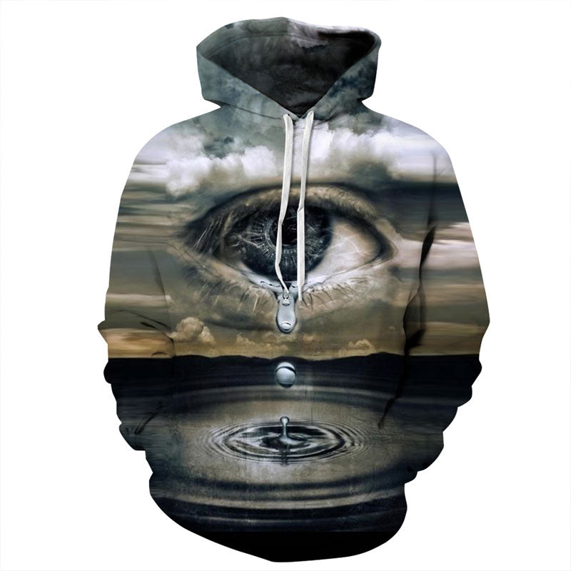 Crying Eyes in Clouds Crew Neck 3D Hoodie - Hautify
