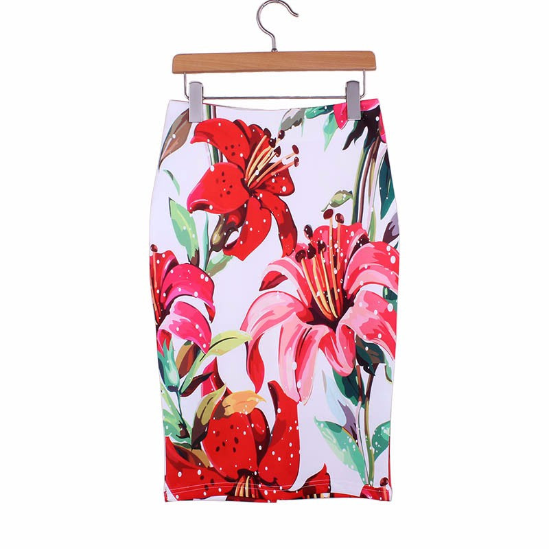 Floral Print Womens Pencil Skirt Knee Length - Hautify