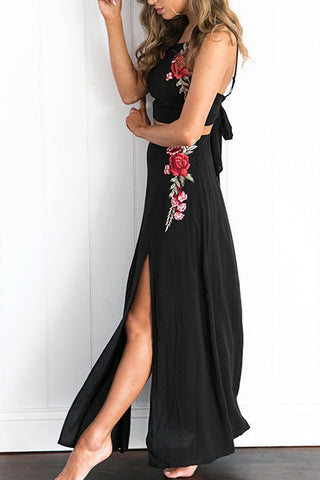 Embroidered Flower Crop Top Maxi Skirt Set