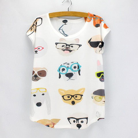Dogs in Glasses Print One Size TShirt for Women - Hautify