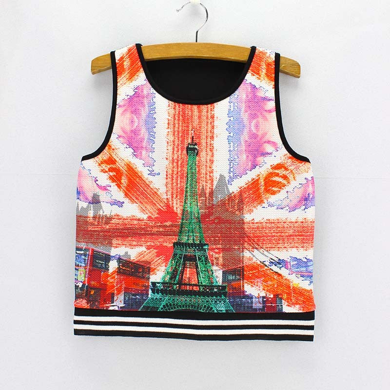 City of Paris Print  Tank Crop Top for Women One Size