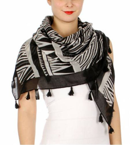 Tribal Spikes Print Square Scarf Black