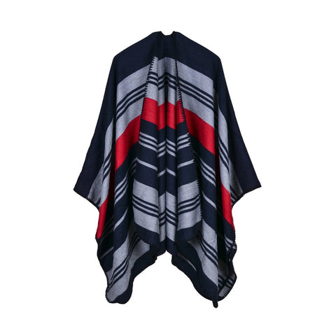 Striped Cashmere Feel Winter Cape Poncho - Hautify