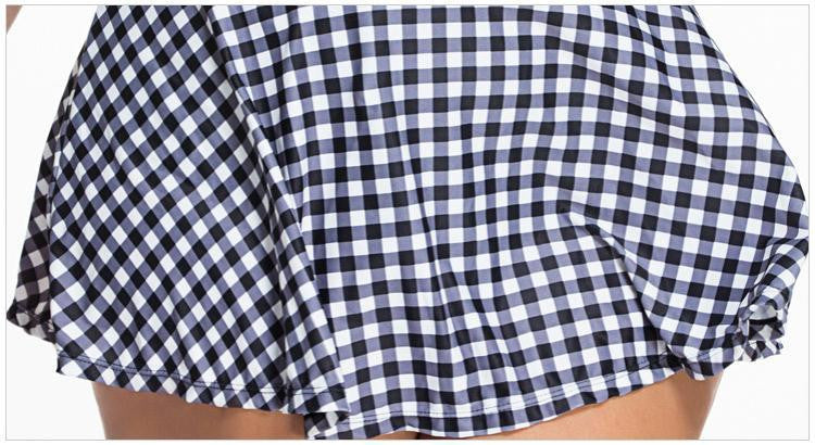 Checkered Skirt Style Split Womens Swimsuit Plus Size XL- 4XL - Hautify