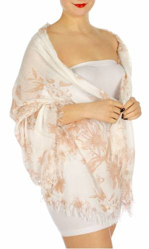 Flower Print Wild Fringe Oblong Scarf Pink - Hautify