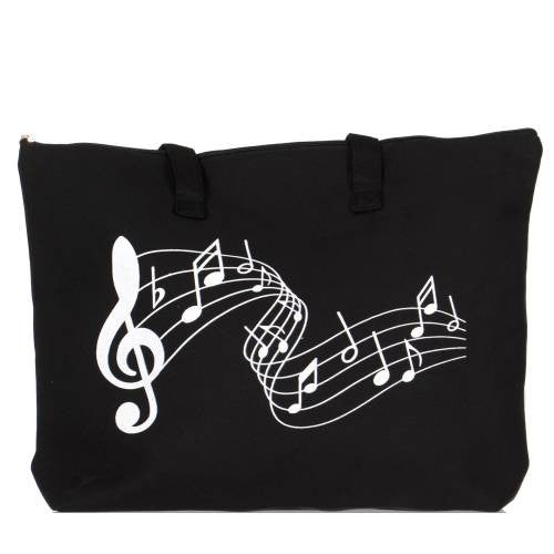 Cotton Canvas Beach Shoulder Bag Music Note